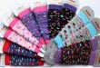 Dětské návleky na nožičky PUNTÍKY - Růžovo-fialové typ 75