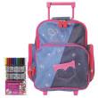 Školní batoh Cool trolley set - Fox Co. - modro-růžový jeans