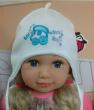 Chlapecká kojenecká čepička zavazovací s výšivkou auta vel. 1 (41-43cm, 3-6 měs ) - Bílá