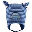 Chlapecká proužkovaná čepice zavazovací s autem vel. 1 (41-43cm, 3-6 měs)