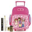 Školní batoh Cool trolley set - 6dílná sada - růžový + doplňky Hollywood