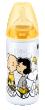 Snoopy láhev First Choice 300ml silikon (6-18 měsíců) - Žlutá