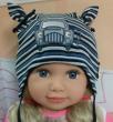 Chlapecká proužkovaná čepice zavazovací s autem vel. 1 (41-43cm, 3-6 měs) - Tmavě modrá