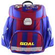 Školní aktovka Goal - 3D nášivka kopačky a fotbalového míče - modro-červená