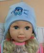 Chlapecká kojenecká čepička zavazovací s výšivkou auta vel. 1 (41-43cm, 3-6 měs ) - Modrá