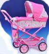 Kočárek Daria 77x87x38cm pro panenky - Růžovo-šedý