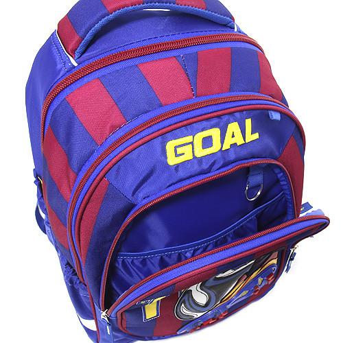 da7715de583 Školní batoh Goal - 3D nášivka kopačky a fotbalového míče - modro-červený -  číslo ...