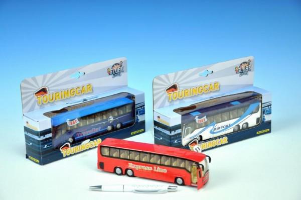 Mikro Trading Autobus kov 19cm zpětný chod na baterie se světlem a zvukem