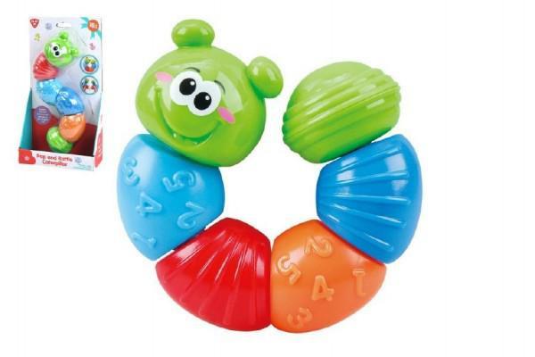 Teddies Plastová skládací housenka - chrastítko vhodné pro děti od 18m