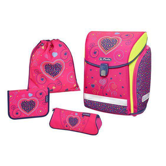 Herlitz Školní taška set Midi Srdce růžové