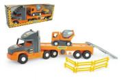 Auto nákladní Super Tech Truck návěs 78cm + auto domíchávač 24cm plast