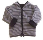 Kabátek oboustranný s kapucí proužky tmavě modré MKcool