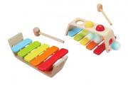 Dřevěná zatloukačka/Xylofon 2v1 29x18 cm 12 m+
