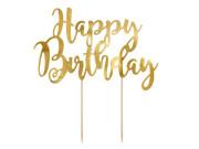 Ozdoba na dort Happy Birthday - zlatá, 22,5 cm