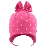Dívčí kojenecká zavazovací čepice s mašlí a puntíky RDX