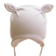 Čepice dětská zavazovací Rohatá s kytičkou MKcool Bílá