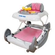 Dětské chodítko s houpačkou a silikonovými kolečky Baby Mix pink