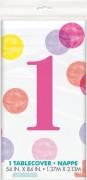 Ubrus plastový - 1. narozeniny růžové puntíky, 137 x 213 cm