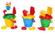 Sada na písek plast kbelík se sítkem 15x13cm, lopatka, hrabičky, 2 bábovky