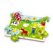 Dřevěné puzzle 24 dílků - farma