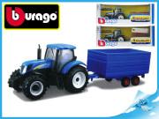 Bburago 1:32 Farm Tractor New Holland W8 s vlečkou