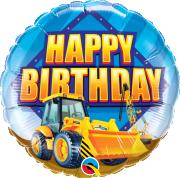 """18"""" fóliový balónek kruh - Bagr a narozeniny"""