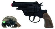Policejní revolver černý kovový 12 ran