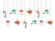 Jmenovky na dárky Santa, mix 12 ks