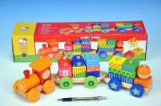 Vlak s domečky dřevo 21 dílků Bino