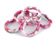 Gumičky do vlasů růžové květy 6 ks