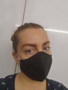 Látková respirační rouška - maska dámská dvouvrstvá s kapsou a drátkem černá