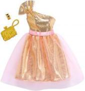 Barbie šaty s doplňky růžové šaty s zlaté šaty na jedno ramínko s kabelkou