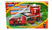 Stavebnice Cheva 21 Hasičská stanice plast 411ks v krabici