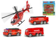 Vozidla hasiči 7cm kov volný chod 3ks s vrtulníkem 17cm