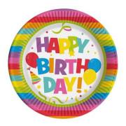 Party talíř papírový 22,5cm Happy Birthday 10ks