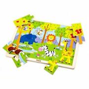Dřevěné puzzle 24 dílků - zoo