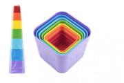 Kubus pyramida skládanka plast hranatá barevná 7ks