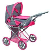 Multifunkční kočárek pro panenky PlayTo Elsa šedo-růžový