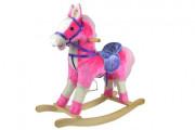 Kůň houpací růžový plyš na baterie 71 cm