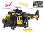 Vrtulník 20cm na setrvačník na baterie se světlem a zvukem černý v krabičce