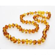 Jantarové korálky pro děti proti bolesti leštěné zlatý med 28 cm