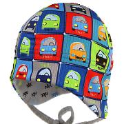 Funkční kojenecká zavazovací čepice na uši Auta RDX