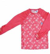 Plážové UV triko - Růžové květy, dlouhý rukáv