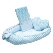 Luxusní hnízdečko s polštářkem a peřinkou New Baby z Minky Králíčci modré