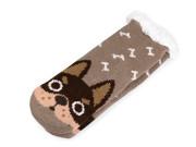 Dětské ponožky zimní s protiskluzem zvířátka hnědá