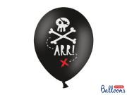 """Balónek pastel 30 cm potisk """"Pirátská party"""" černá, 6 ks"""