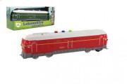Lokomotiva/Vlak plast 23 cm červená na baterie se zvukem se světlem