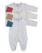 Bavlněná kombinéza s rukavičkami Puntíky Baby Service