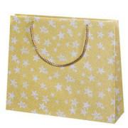 Vánoční dárková taška 31 x 36 cm Zlatá + hvězdičky