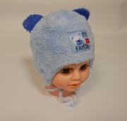 Dívčí zavazovací čepice Modrá s oušky RDX